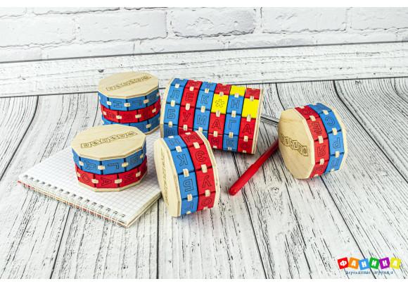 Буквенные цилиндры цветные набор из 5 штук