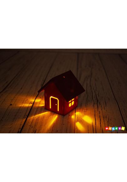 """Ёлочная игрушка """"Домик"""" цветная светящаяся"""