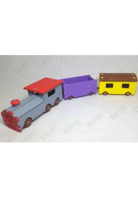 Паровозик с двумя вагонами цветной (набор №1)
