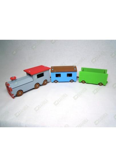 Паровозик с двумя вагонами цветной (набор №2)