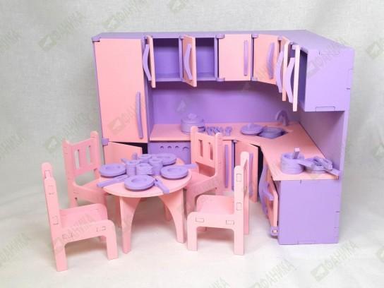 Детская кухня с набором посудки, стульев и стола цветной