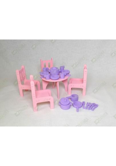 Мебель кухонная для кукол и посудка цветная