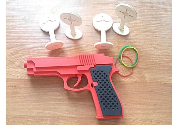 Пистолет стреляющий резиночками (резинкострел) красный
