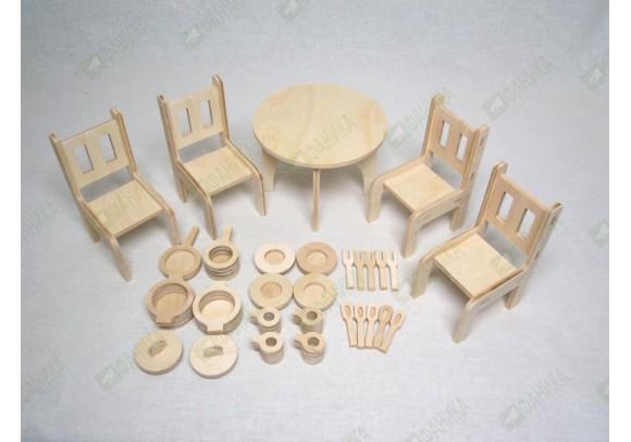 Мебель кухонная для кукол и посудка