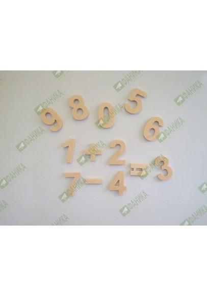 Цифры и знаки большие деревянные на магнитах