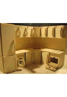 Детская кухня для девочек с узором на дверцах