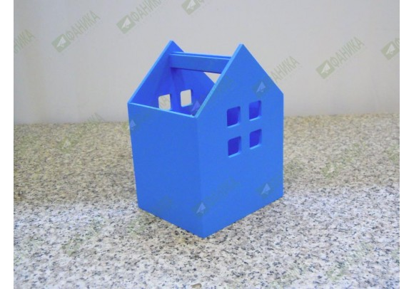 Карандашница Домик голубая