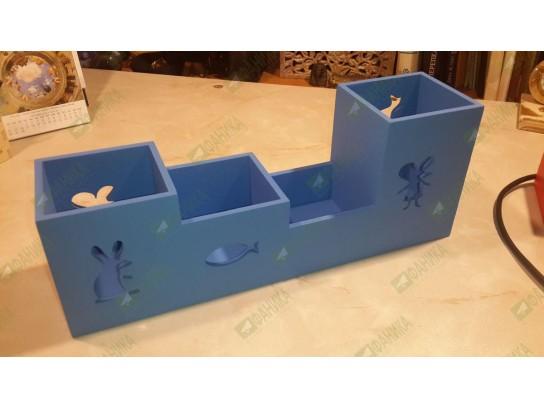 Карандашница с животными голубая