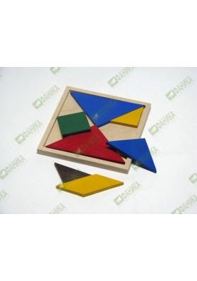 Танграм деревянный цветной
